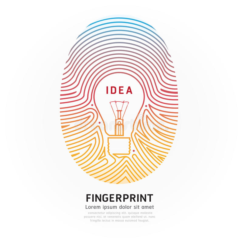Free Fingerprint Lightbulb Color Vector Design Illustration. Stock Photography - 39433012