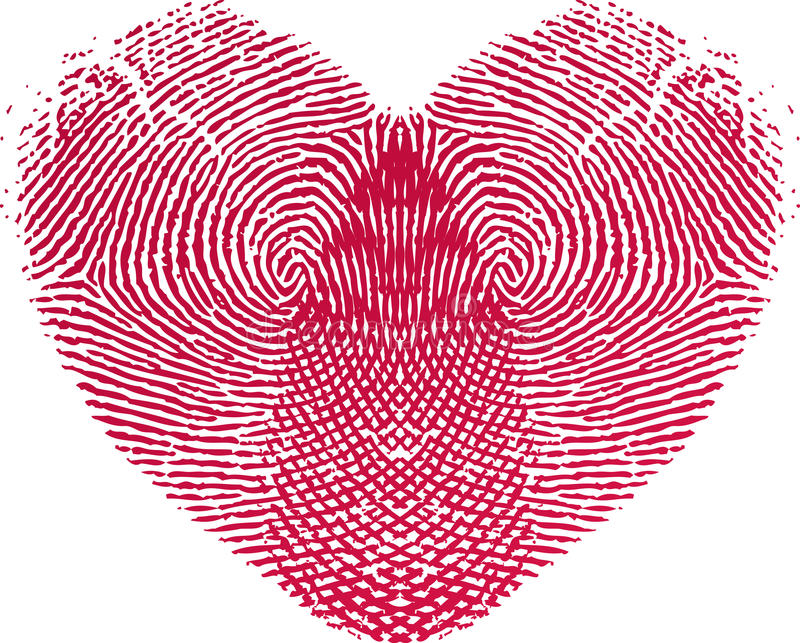 Fingerprint Love Heart royalty free illustration