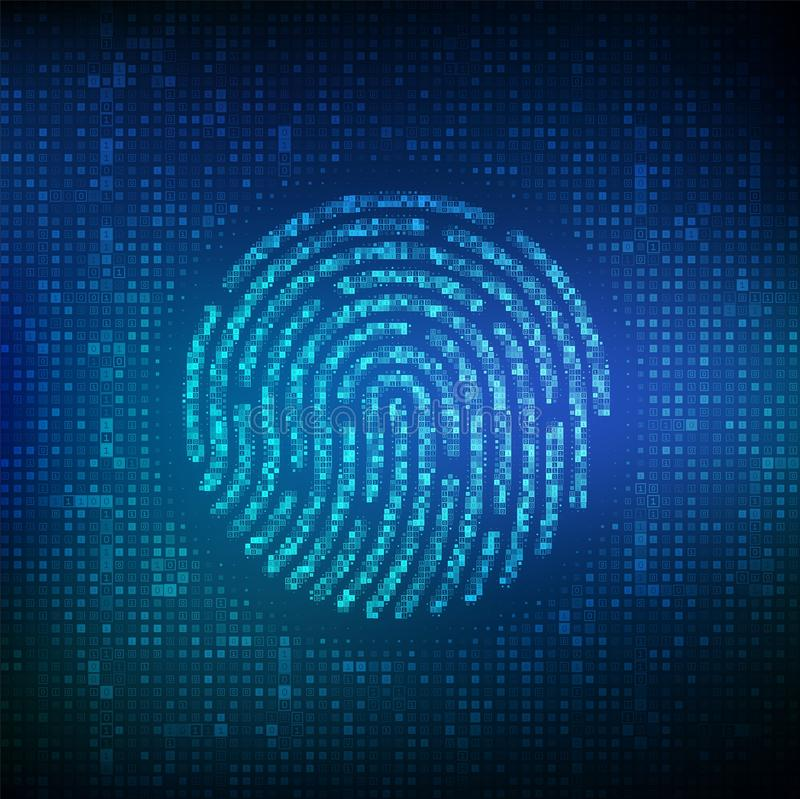Fingerprint made with binary code. Biometrics identification and approval. Password control through fingerprints. Futuristic. Biometric and cyber security vector illustration
