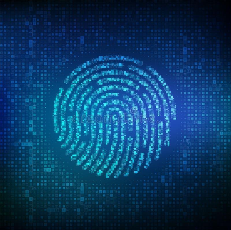 Fingerprint made with binary code. Biometrics identification and approval. Password control through fingerprints. Futuristic vector illustration