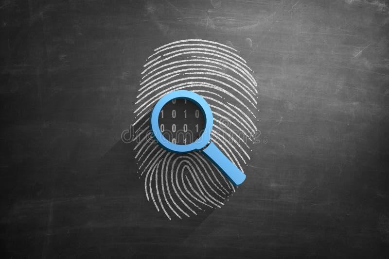 Fingerprint and magnifying glass 3d illustration royalty free illustration