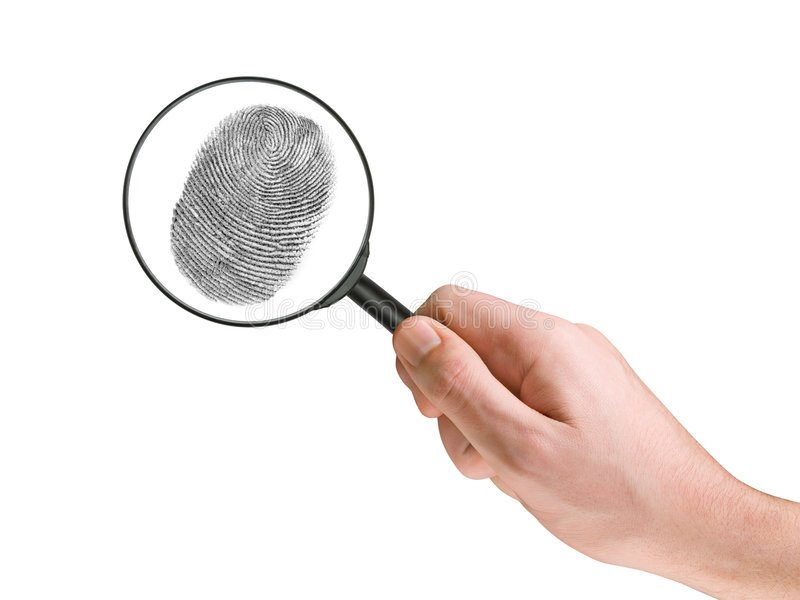 Fingerprint and magnifying glass in hand. Isolated on white stock photography