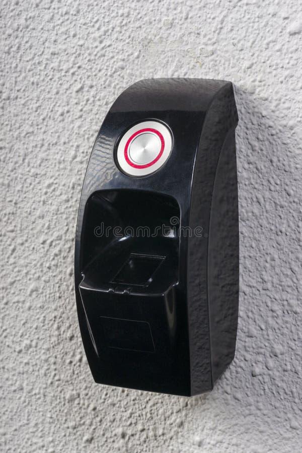 Fingerprint needed to open the door stock photography