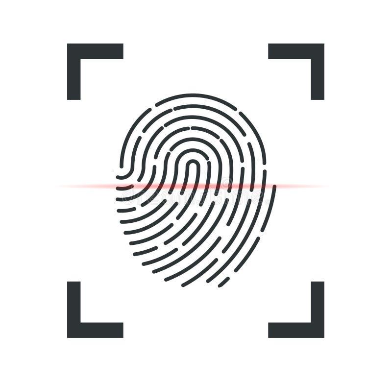 fingerprint Odcisk palca skanuje z okulistycznym przeszukiwaczem Odcisk palca na telefonie również zwrócić corel ilustracji wekto ilustracja wektor