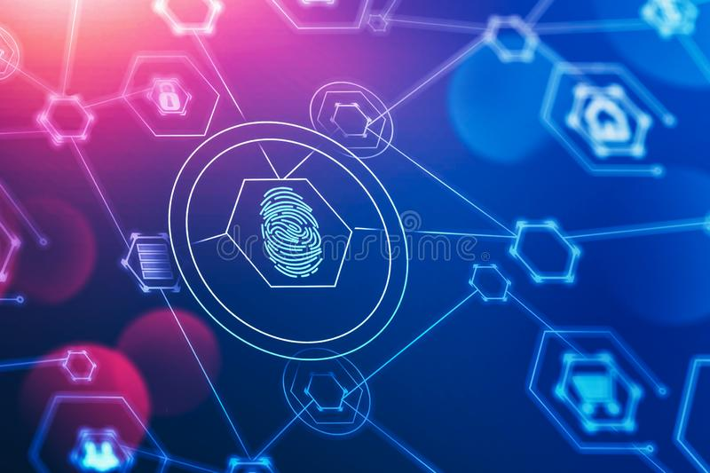 Fingerprint and online security interface. Glowing immersive online security interface with HUD fingerprint over blue red background. Concept of data protection stock illustration