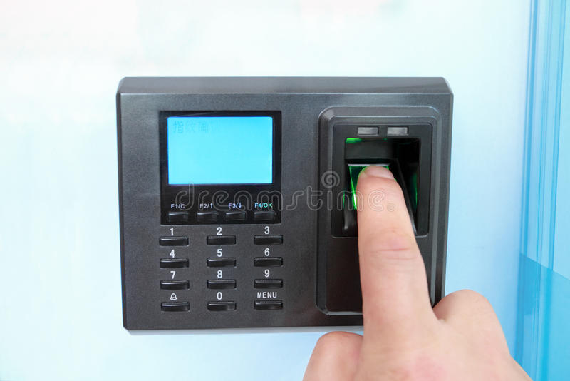 Fingerprint and password lock stock photography