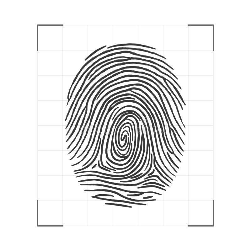 Fingerprint - personal id scanning. Biometric technology. Vector illustration.  royalty free illustration