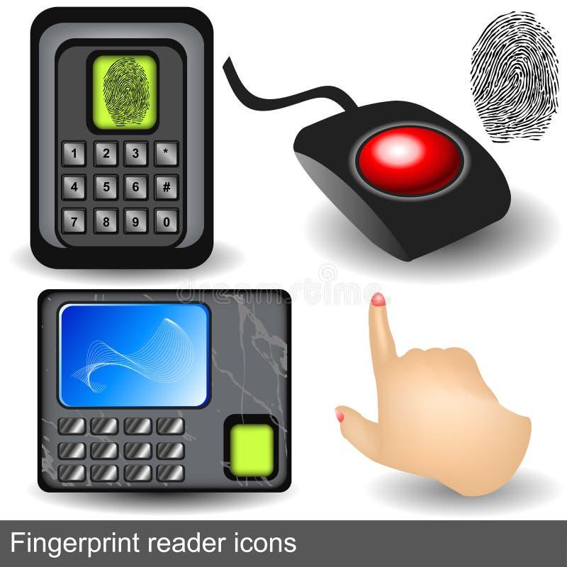 Fingerprint Reader Icons Stock Photography