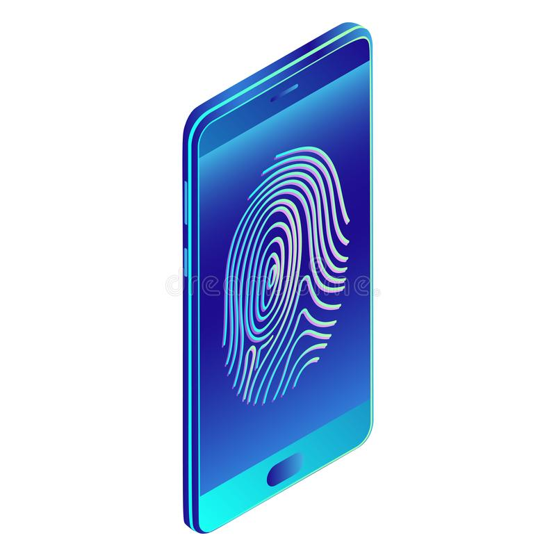 Fingerprint recognition, user identification, authorization, secure access. Protection of personal data. Isometric vector image stock illustration