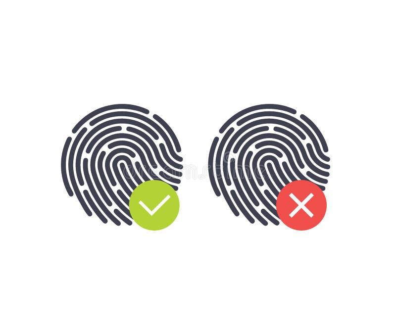 fingerprint Símbolos aceptados y rechazados de la autentificación del estado en el fondo blanco Ilustración del vector stock de ilustración