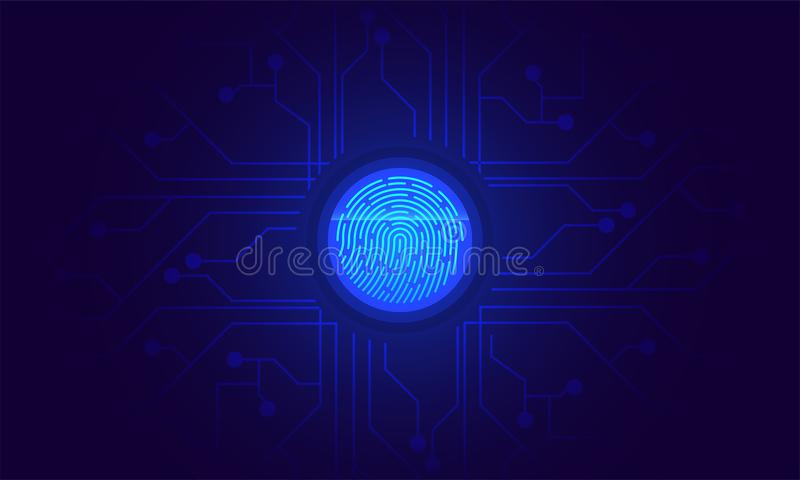 Fingerprint scan, biometric identity and approval. Future of sec. Urity and password control through fingerprints in an immersive technology future and vector illustration