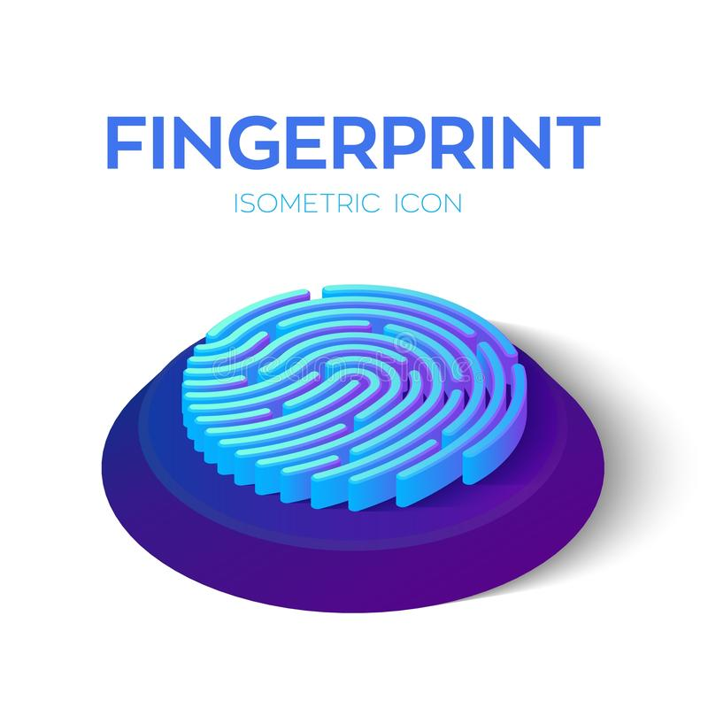 Fingerprint Scan Icon. 3D Isometric Finger print sign. Biometric identification. Created For Mobile, Web, Decor, Print Products, A. Pplication. Perfect for web royalty free illustration
