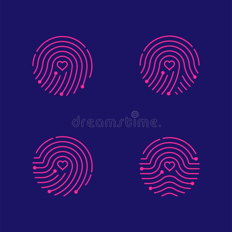 Free Fingerprint Scan Icon Set With Love Heart Symbol Dash Line Design Illustration Royalty Free Stock Photography - 125889037