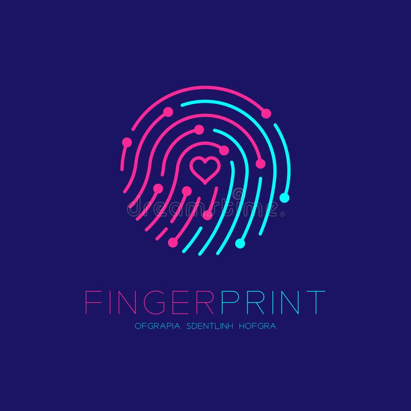 Fingerprint scan logo icon with Love Heart symbol dash line design illustration. Blue and pink isolated on dark blue background with Fingerprint text and copy vector illustration