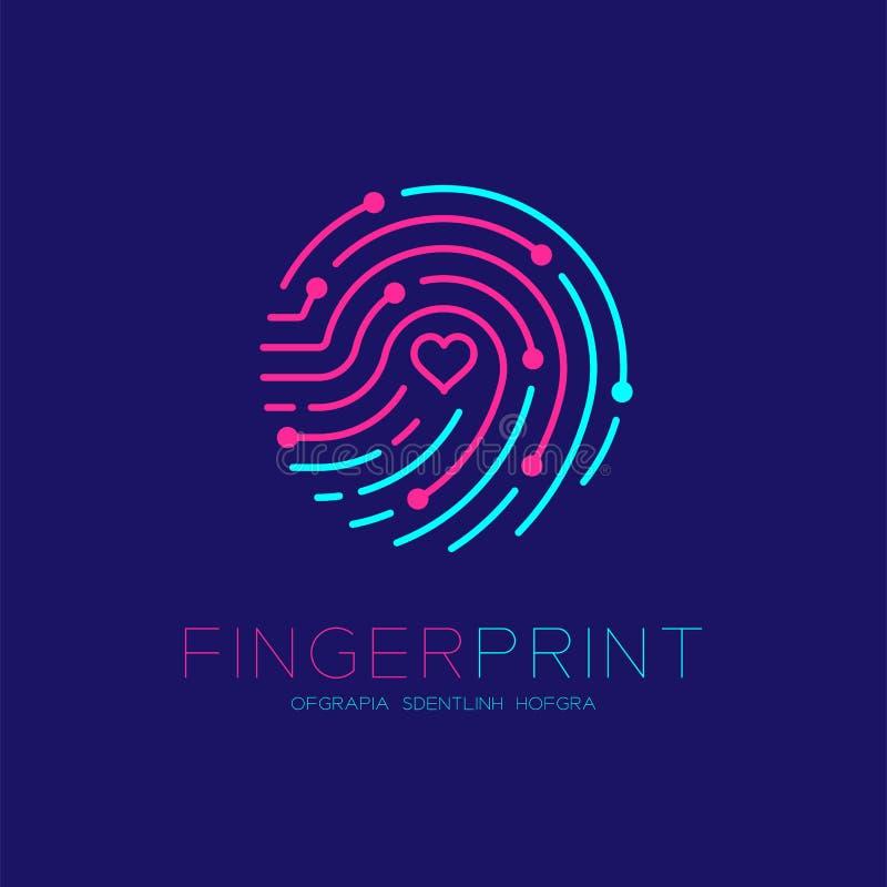 Free Fingerprint Scan Logo Icon With Love Heart Symbol Dash Line Design Illustration Royalty Free Stock Image - 125889046