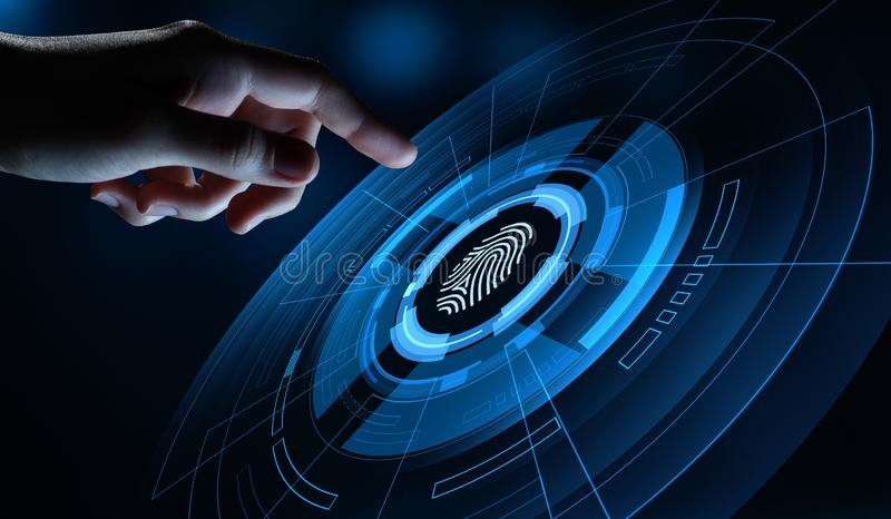 Fingerprint scan provides security access with biometrics identification. Business Technology Safety Internet Concept stock image