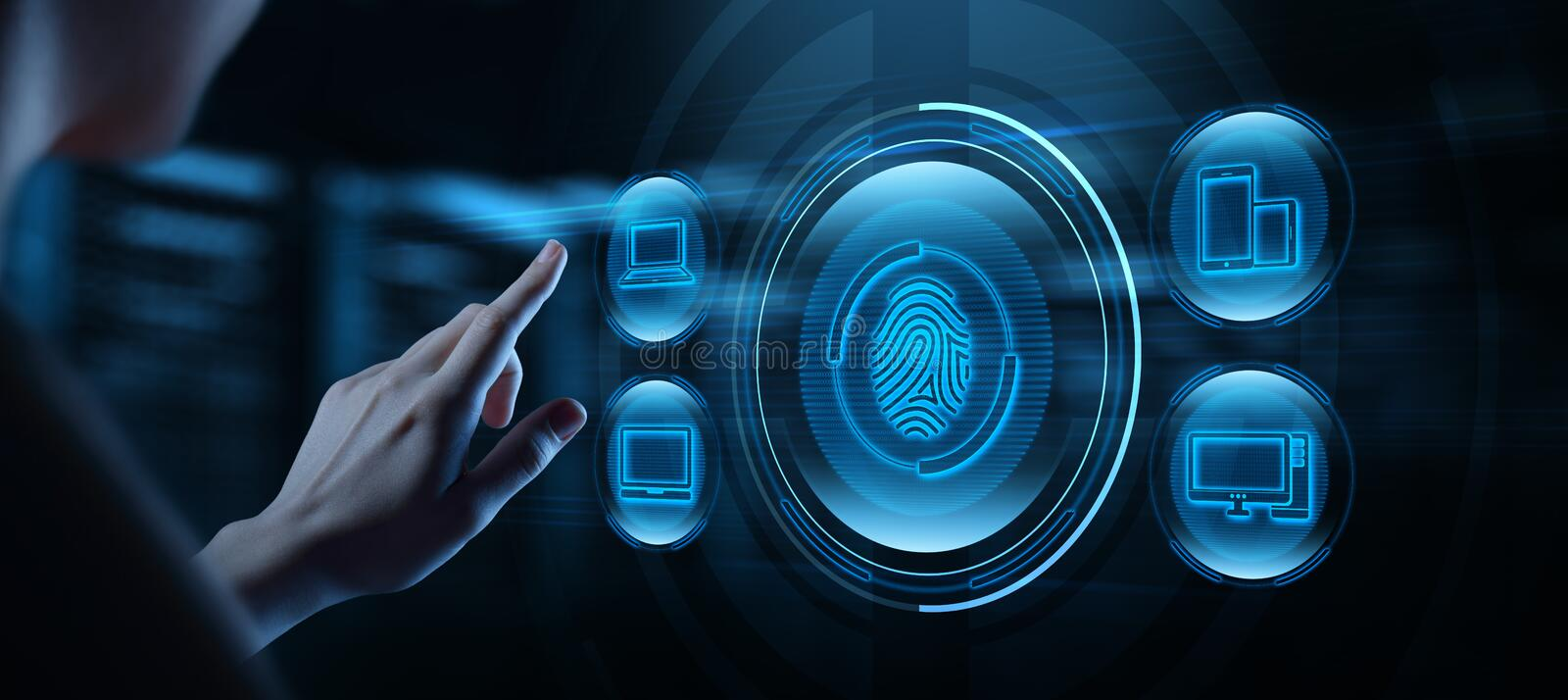 Fingerprint scan provides security access with biometrics identification. Business Technology Safety Internet Concept stock photography