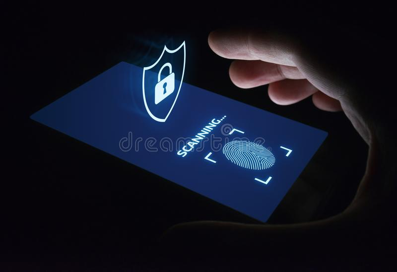 Fingerprint scan provides security access with biometrics identification. Business Technology Safety Internet Concept stock images