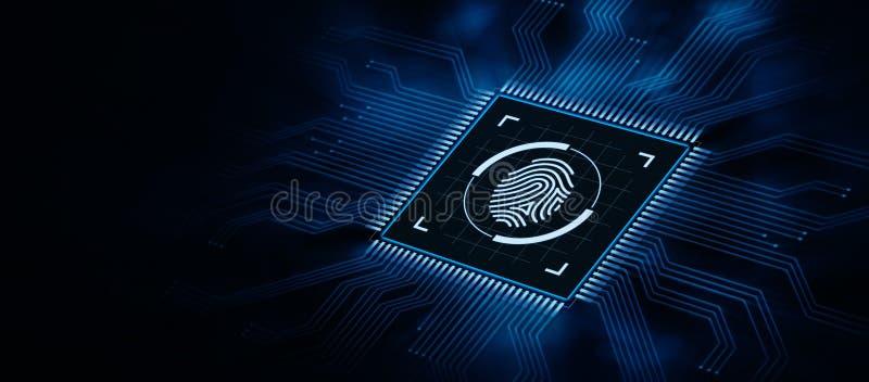 Fingerprint scan security access with biometrics identification.  vector illustration