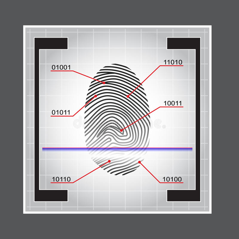 Fingerprint Scanner Access Granted Denied Vector Illustration stock illustration