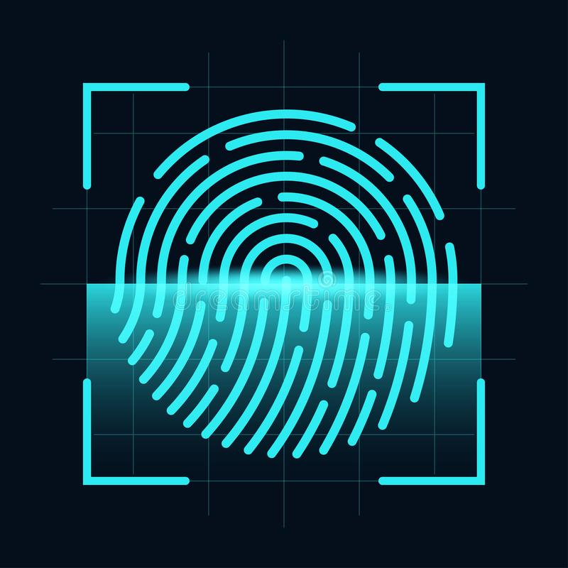 Fingerprint scanner concept. Digital and cyber security, biometric authorization. Fingerprint on scanning screen stock illustration