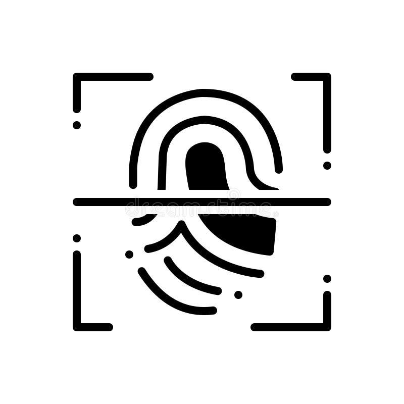 Black solid icon for Fingerprint scanner, security and biometrics. Black solid icon for Fingerprint scanner, authorization, identification,  security and stock illustration