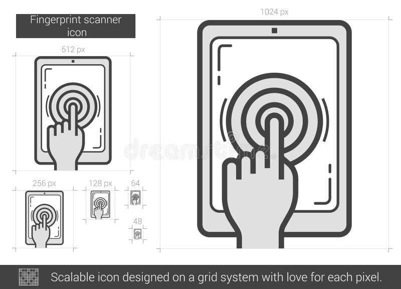 Fingerprint scanner line icon stock vector illustration for Draw online share