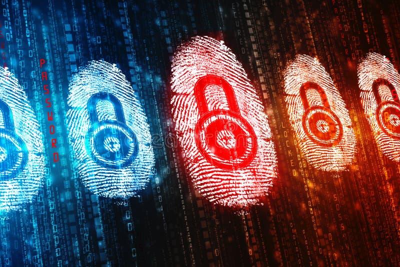 Fingerprint Scanning on digital screen, Security background. Security concept: fingerprint Scanning on digital screen, Internet Security Background royalty free stock images