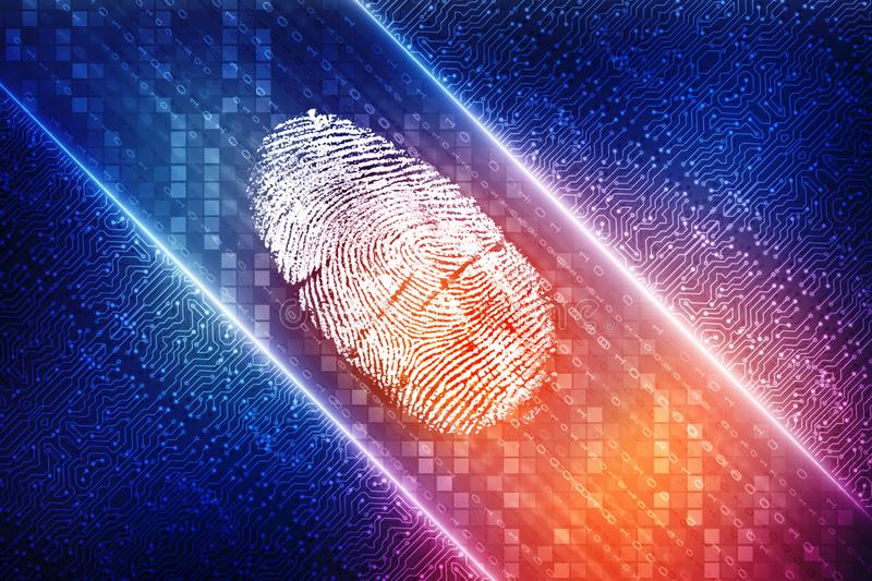 Fingerprint Scanning on digital screen, Security background stock illustration