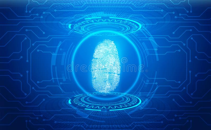 Fingerprint Scanning Identification System. Biometric Authorization and Business Security Concept stock illustration
