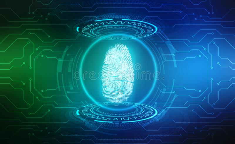 Fingerprint Scanning Identification System. Biometric Authorization and Business Security Concept. Fingerprint Scanning on digital screen. cyber security royalty free illustration