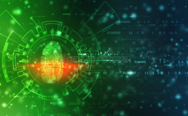 Security Concept, fingerprint Scanning on digital screen. cyber security Concept. Fingerprint Scanning Identification System. Biometric Authorization and stock images