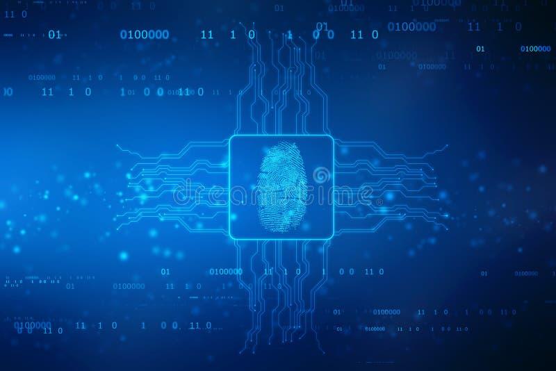 Fingerprint Scanning on digital screen. cyber security Concept stock illustration