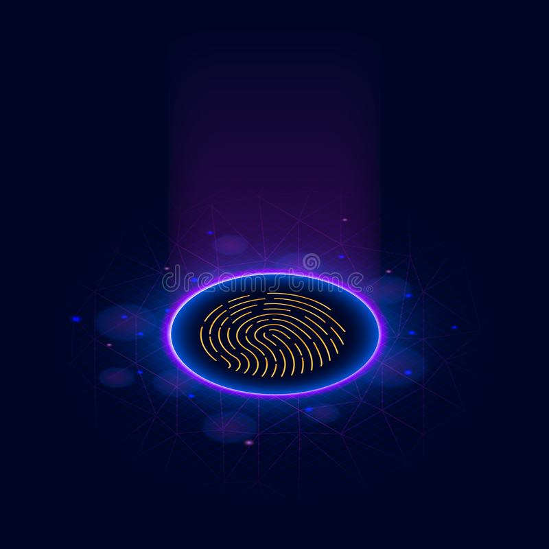 Fingerprint Scanning Identification System. Biometric Authorization and Business Security Concept. Scanning Identification System. Abstract digital conceptual stock illustration