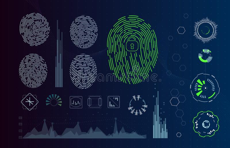 Fingerprint Scanning Identification system in futuristic HUD style. Biometric Interface. Recognition biometric. Technology and artificial intelligence concept royalty free illustration
