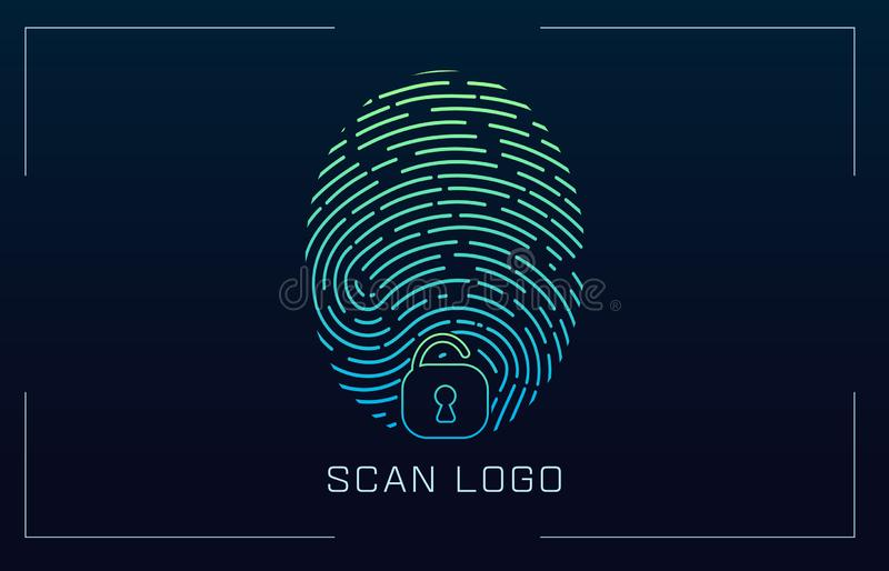 Fingerprint Scanning Identification system in futuristic HUD style. Biometric Interface. Recognition biometric. Technology and artificial intelligence concept stock illustration