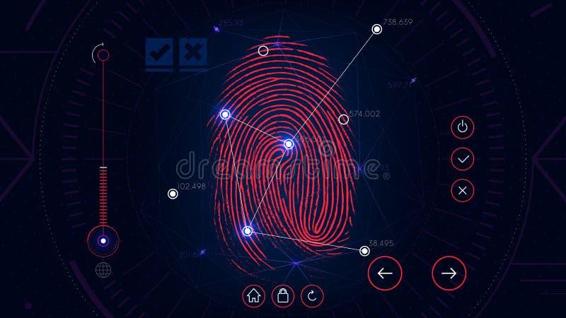 Fingerprint scanning identification system, futuristic sci-fi red interface, biometric authorization technology. For design stock illustration