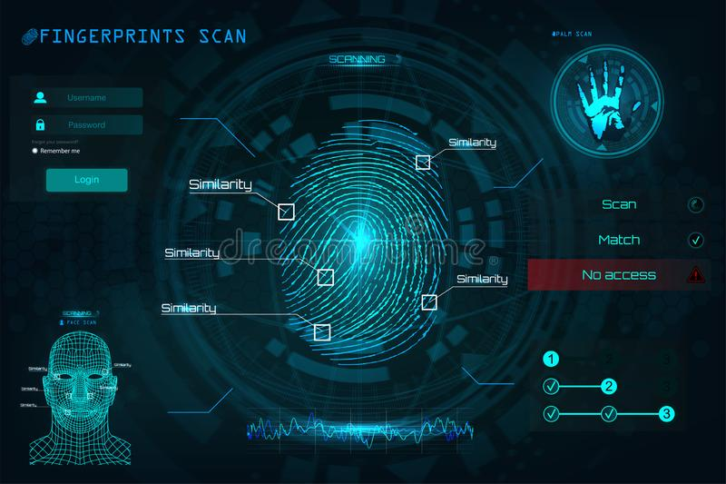 Fingerprint Scanning Identification System in HUD style. Biometric Interface, Recognition Biometric Technology and Artificial Intelligence Concept. Scanning vector illustration