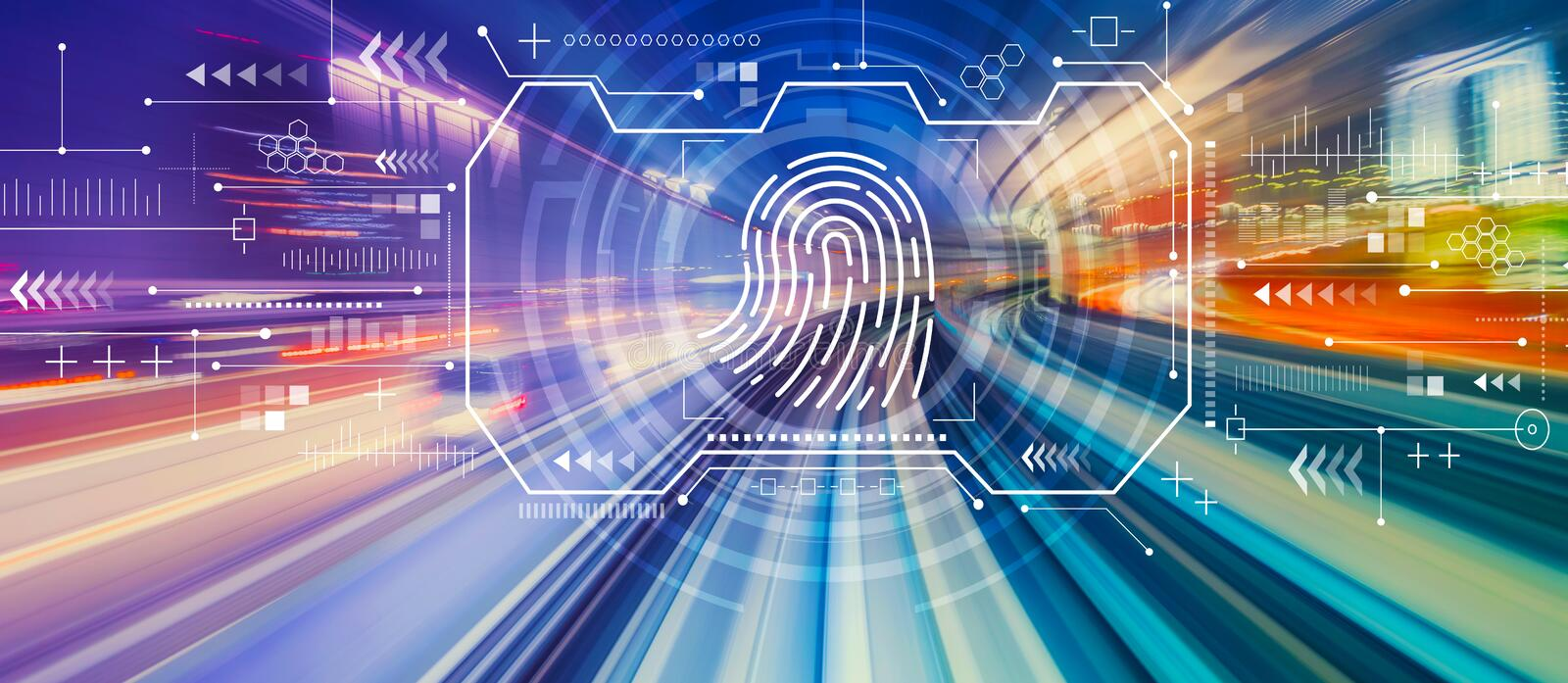 Fingerprint scanning theme with high speed motion blur royalty free stock images