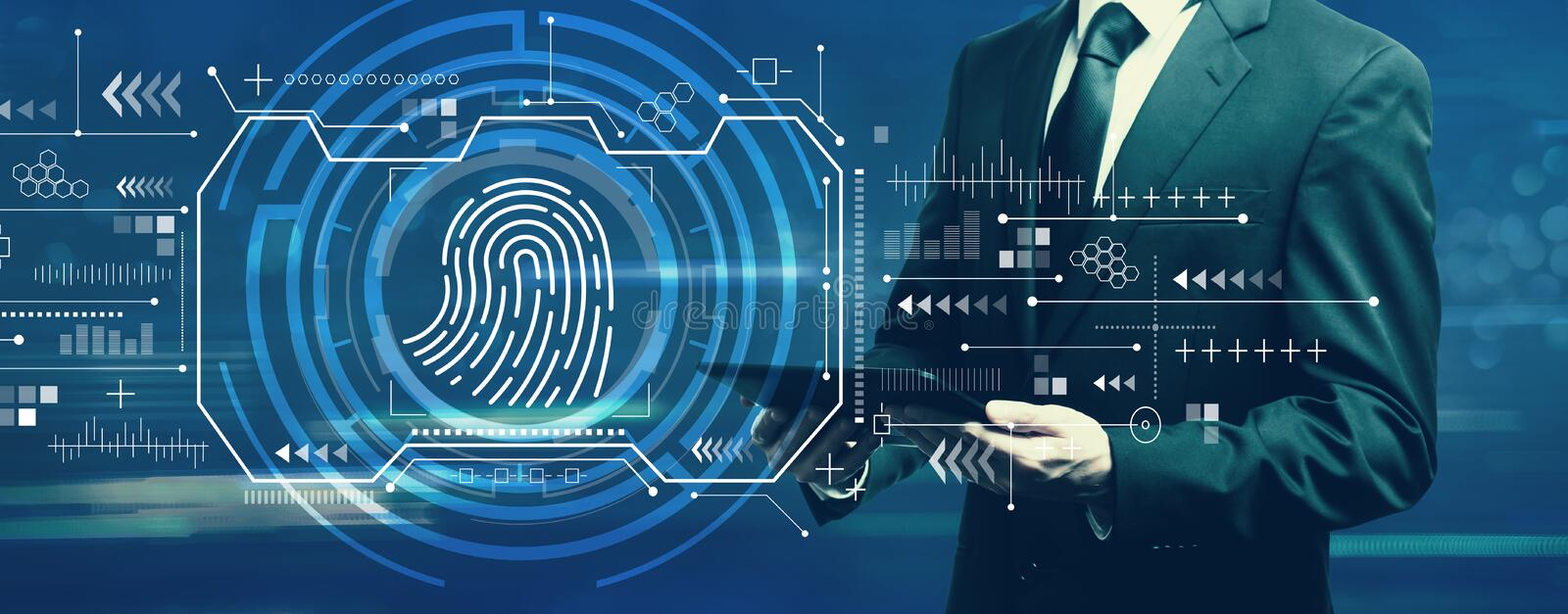 Fingerprint scanning theme with businessman. Holding a tablet computer stock photography