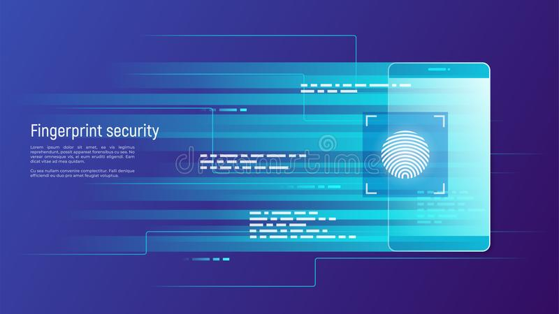 Fingerprint security, access control, authorization and identification vector concept. vector illustration