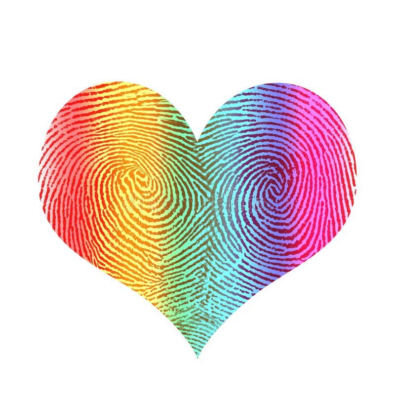 Love rainbow heart. Fingerprint in shape of rainbow heart stock illustration