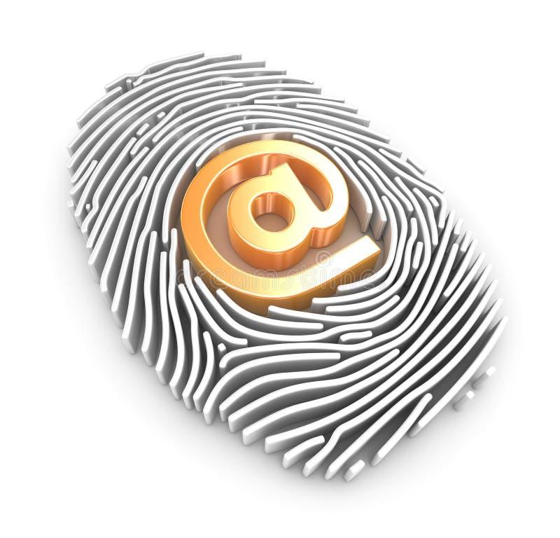 Fingerprint and At Symbol stock illustration
