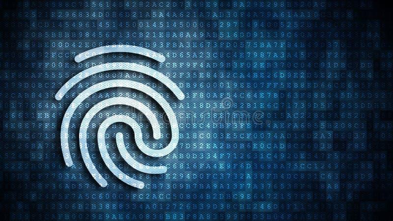 Fingerprint symbol over code stock illustration