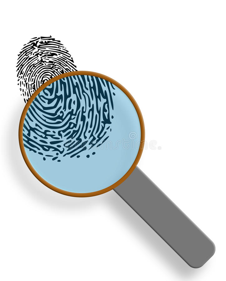 Fingerprint under magnification glass royalty free stock images