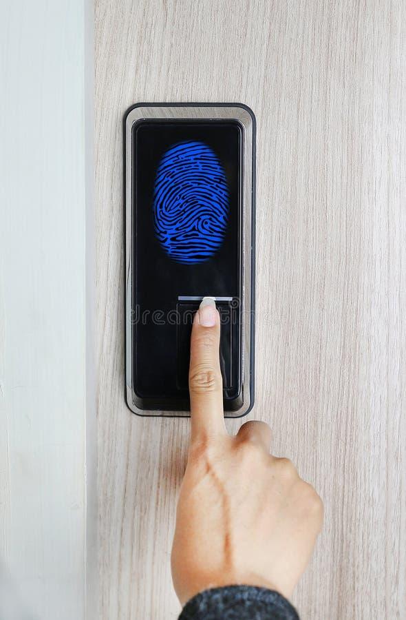 Fingerprint used as an identification method on a door lock. Digital illustration.  royalty free stock photography