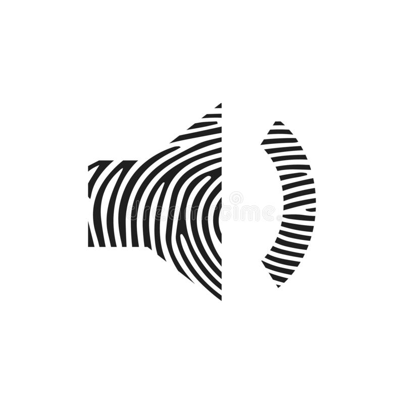 Fingerprint volume low icon. Isolated thumbprint and fingerprint volume low icon line style. Premium quality vector symbol drawing royalty free illustration