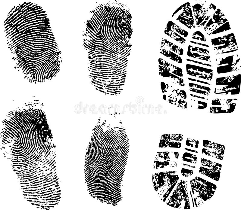 Fingerprints and bootprint stock illustration