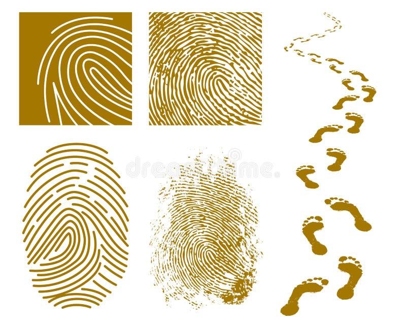 Fingerprints and Footprints stock illustration