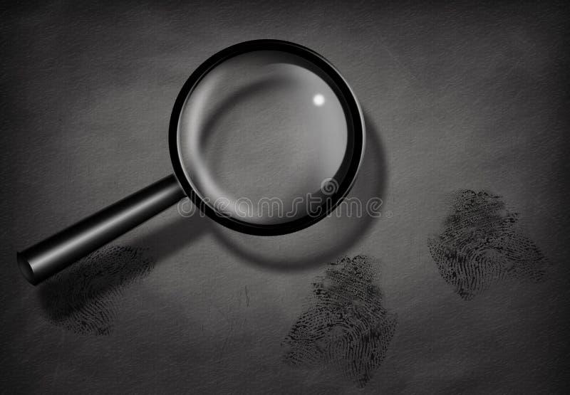 Fingerprints and Magnifying Glass. BW Fingerprints and Magnifying Glass royalty free illustration